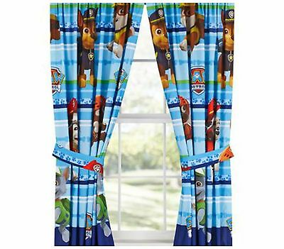 Kids Curtains Paw Patrol Puppy Dog Fun Drapery Panels Bedroom Bed Tie Backs New