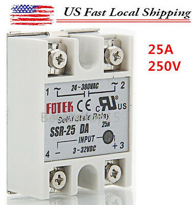 Solid State Relay SSR-25DA 25A /250V 3-32VDC for PID Temperature Controller USA