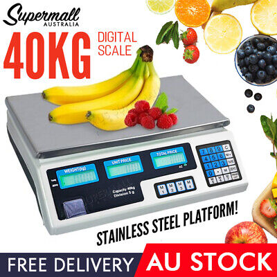 40Kg Digital Scale Electronic Price Computing Weight Shop Market UK Adapter AU