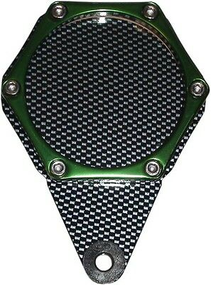 Tax Disc Holder Hexagon Carbon Look 6 Studs Green Rim