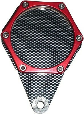Tax Disc Holder Hexagon Carbon Look 6 Studs Red Rim