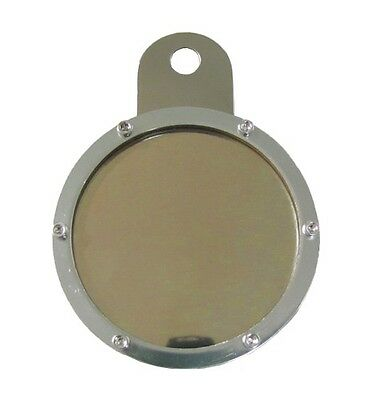 Tax Disc Holder Round 6 Screws,Gold Glass,Chrome Backing
