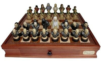 """Dal Rossi Italy, """"Lord of the Rings"""" Chess Set on Dal Rossi 50cm (20"""") Chess Box"""