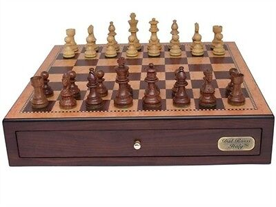 """Dal Rossi Italy, Chess Box with Drawers 18"""" (Walnut Finish) with 85mm Wooden Dou"""