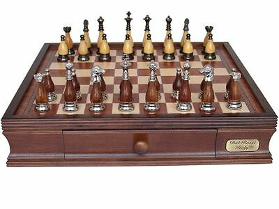Dal Rossi Italy Metal & Wooden Staunton Chess Set with 40cm Chessbox with drawer