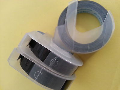 3 rolls x Dymo 3D embossing tape labels 9mm x 3m in BLACK  *Great Sales FreeShip