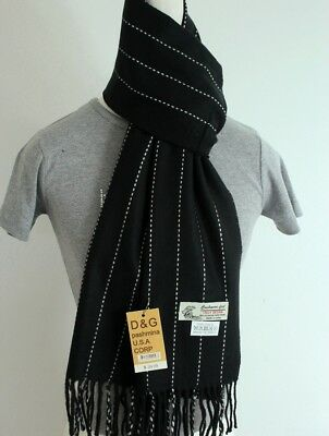 DG Men's Winter Scarf Check-Plaid.Gray,White Black.Cashmere--Feel Warm*Unisex