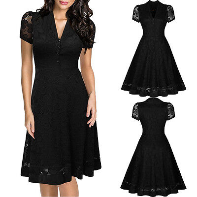 Women Vintage Style Lace 50s 60s Rockabilly Evening Party Prom Pinup Swing Dress