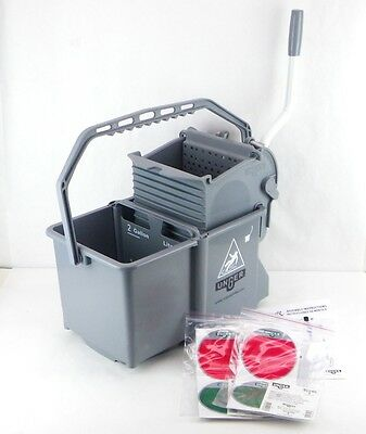 UNGER Mop Bucket with Wringer 4 gal. Gray Side Press Polypropylene COMSG 5Aa