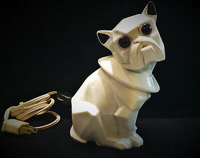 Art Deco Cubist Hand Painted Porcelain French Bulldog Nightstand Lamp, Ca. 1920