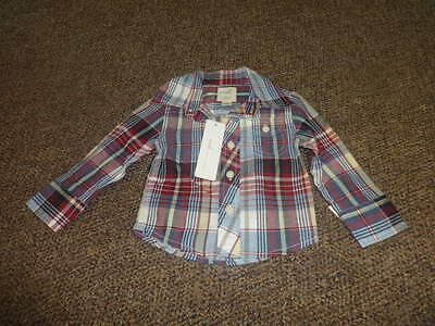 Nwt New Boutique Peek Little Peanut S 3-6 Plaid Shirt
