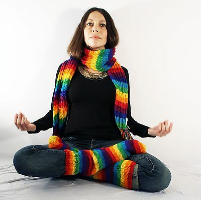 Rainbow Hand Knit woolen Socks and Scarf set winter warm hippie