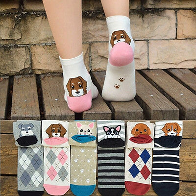 Womens Girls 3D Animals Style Lovely Puppy Print Cotton Winter Warm Ankle Socks