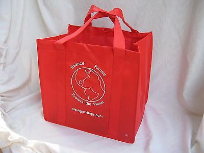 Reusable Grocery Shopping Bags - 10 RED bags