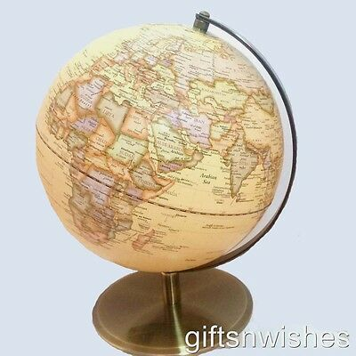 Stunning World Globe Antique/Vintage Embossed Raised Relief 31x25cm Educational