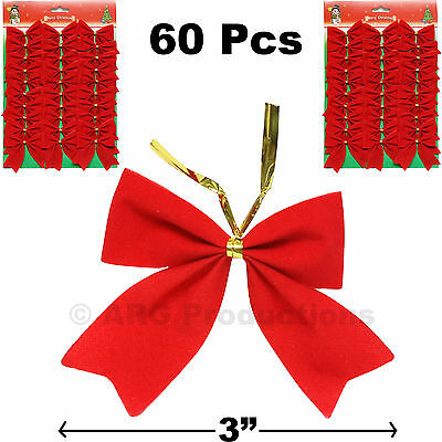 60 Pcs Christmas Tree Bow Red Ribbon Ornament Decoration