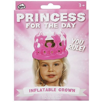 NPW Inflatable Crown Princess for the day Pink Tiara Kids Party Hat