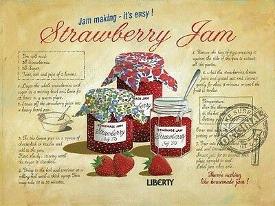 Strawberry Jam Vintage Kitchen Cafe Shop Old Food Recipe, Small Metal/Tin Sign