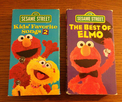 Lot 2 Sesame Street VHS Tapes The Best of Elmo Kid's Favorite Songs 2