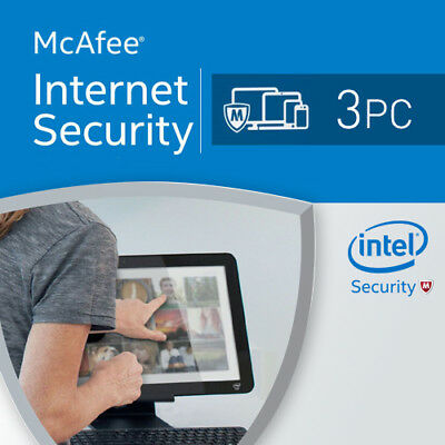 McAfee Internet Security 2017 3 PC 12 Months License Antivirus 2016 3 users