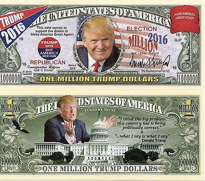 Donald Trump 2016 Million Dollar Bill