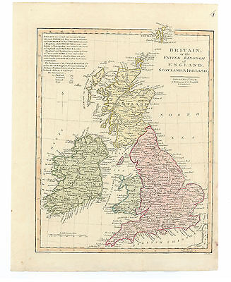 Antique Map of 1807 BRITAIN by Robert Wilkinson