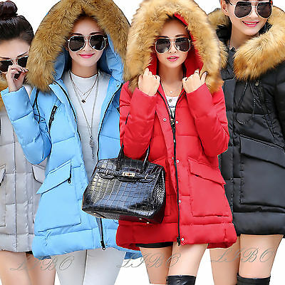 New Womens Ladies Quilted Winter Coat Down Puffer Fur Collar Hooded Jacket Parka