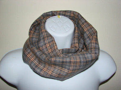 grey tan baby plaid infinity scarf, toddler plaid scarf Christmas gift kids