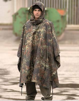Poncho Ripstop camuflaje Flecktarn alemán - proteccion lluvia - agua impermeable