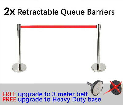 2x Queue Barriers Crowd Control stanchions + 2x 3m Retractable Belt Silver Red