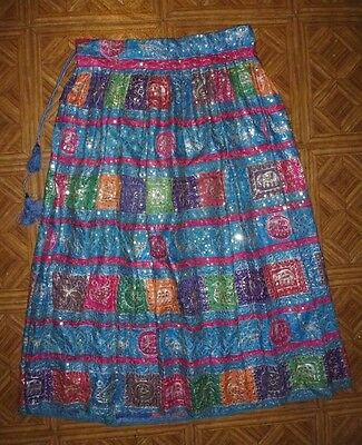 "FABULOUS RARE VINTAGE 1980s INDIAN SILK EMBROIDERED SEQUINED ""HOLLYWOOD"" SKIRT"