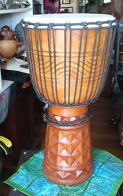 BALINESE UNIQUE HANDCARVED SOLID PIECE MAHOGANY WOOD BONGO DRUM GOAT SKIN 80cm