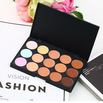 15 Color Pro Makeup Facial Concealer Camouflage Cream Palette Cosmetic DD~