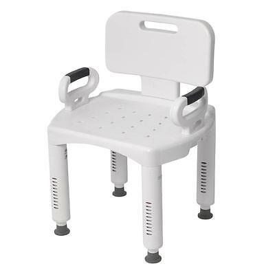 Drive Medical Bath Bench with Back and Arms, White RTL12505 New