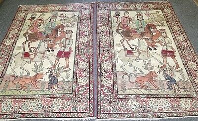Oriental Rugs Hand Woven Antique Pair Of Persian Kerman Lava Picturesque 5' x 7'