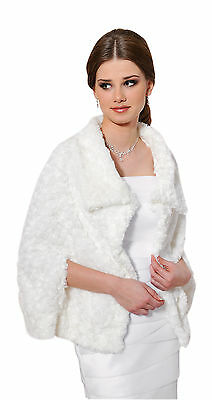 New Women Wedding Faux Fur Bridal Shawl Wrap Stole Shrug Bolero Cape  8 10 12 14