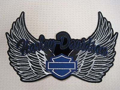 Harley Davidson Motorcycle Lady Rider  2Xl Xxl Wing Patch Black-Blue-Silver Look