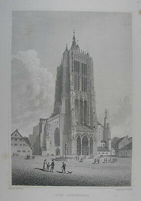 Ulm Cathedral. Stahlstich von W. Woolnoth nach Batty 1822