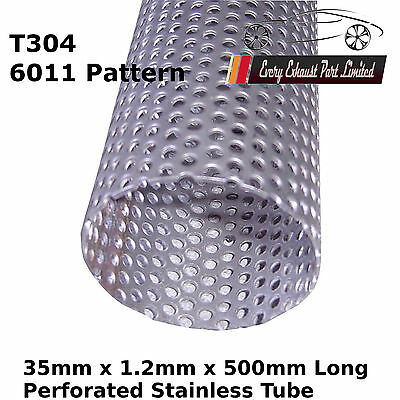 """35mm x 500mm (20"""") T304 Stainless Perforated Tube Pipe Exhaust Repair 0.5M"""