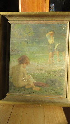 Antique Impressionist Painting of Children at the Beach by Johanna Kirsch