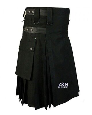 Men Black Leather Straps Fashion Sport Utility Kilt, Adjustable Sizes