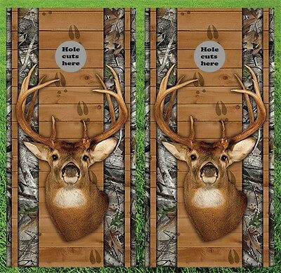 "Deer Hunting Cornhole Wrap Decals Bag Toss 3M Vinyl 24x48"" - Fast Shipping"