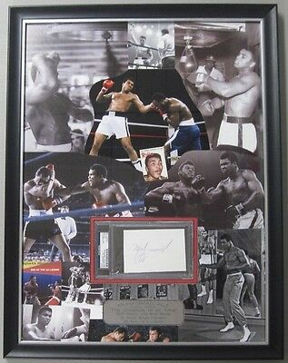 Muhammad Ali Framed Cut Autograph Psa/dna Picture Collage