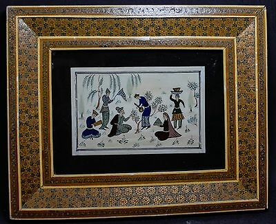 Vintage Persian Painting ~ 5.5'' x 3.5'' Image size ~ Framed ~
