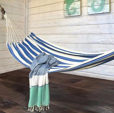 Hammock Heavy Woven Blue/Natural Stripe + bag Hanging Swinging Camping Outdoor
