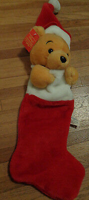 WINNIE THE POOH Disney CHRISTMAS Plush Holiday Stocking New FREE SHIPPING