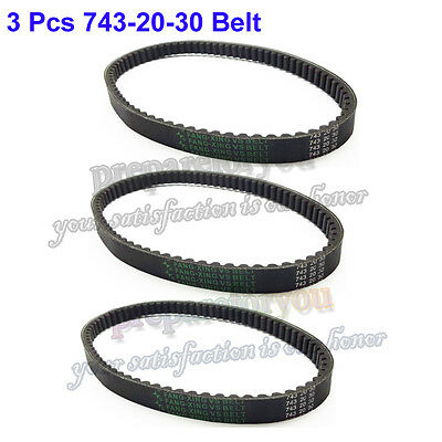 3 Pcs 743 20 30 CVT Drive Belt For GY6 125 150cc Moped Scooter ATV Quad Go Kart