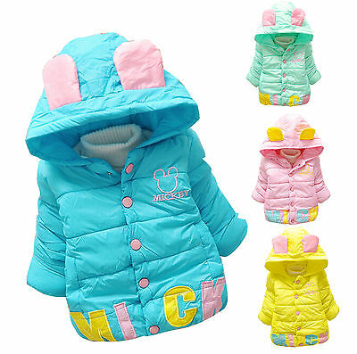 Toddler Baby Girl Kid Cute Warm Cotton Hooded Coat Puffer Jacket clothes Outwear