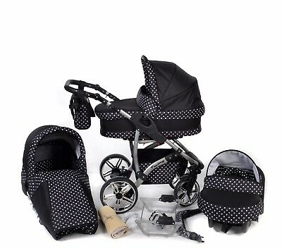 Baby Pram Stroller Buggy Pushchair Twing 3in1 car seat +  swivel wheels