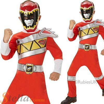 Boys Red Power Rangers Dino Charge Fancy Dress Costume Child Superhero Outfit